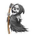 grim reaper with bone and holding scythe vector image vector image