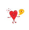 heart character saying i love you vector image vector image