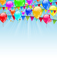 Holiday background with flags and balloons vector image vector image