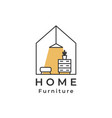 house logo lamp drawer shelf home furniture logo vector image