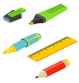 Isometric fountain pen pencil ruler and marker on vector image