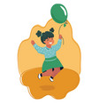 jumping girl with air balloon vector image vector image