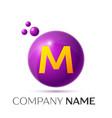 m letter splash purple dots and circle bubble vector image vector image