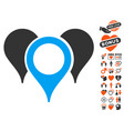map pointers icon with lovely bonus vector image vector image