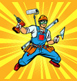 multi-armed builder repairman vector image