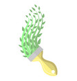 paintbrush and green paint spring time concept vector image