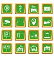 parking set icons set green vector image