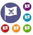 pirate flag icons set vector image vector image