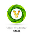 realistic letter v logo in the colorful circle vector image vector image