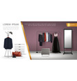realistic wardrobe room elements composition vector image
