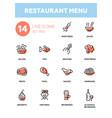 restaurant menu - line design icons set vector image vector image