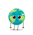 sad earth character unhappy cartoon mascot globe vector image vector image