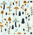 seamless jungle pattern with mushrooms and floral vector image vector image