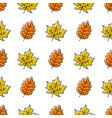 seamless pattern with doodle leaves modern autumn vector image vector image