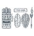 set hawaii tiki mask or face idol ethnic totem vector image vector image