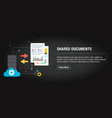 shared documents banner internet with icons in vector image vector image