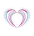 smooth holographic abstract heart on white vector image vector image