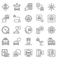 taxi services icons set car app vector image