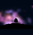 tree silhouetted against a starry space sky vector image vector image