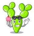 with ice cream cartoon opuntia cactus in the vector image