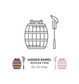 wooden barrel icon russian food and drink vector image vector image