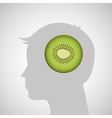 silhouette head with tasty kiwi icon graphic vector image