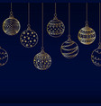 seamless border from golden christmas ball toy vector image