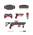 Set of accessories for virtual reality system vector image