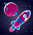 a sticker of a purple rocket with blue stripes and vector image vector image