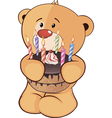 A stuffed toy bear cub and a pie cartoon vector image