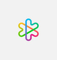 abstract colorful linear logo icon design vector image vector image