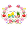 beautiful happy easter card with floral wreath vector image vector image