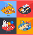 bowling colorful isometric compositions vector image vector image