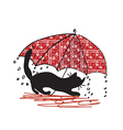Cat and umbrella - bad weath vector image vector image