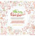 christmas outlined snowmen background vector image