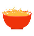 cooked pasta in bowl prepared food plate icon vector image vector image