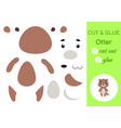 cut and glue paper little otter kids crafts vector image vector image