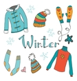 Cute hand drawn collection of winter clothing vector image