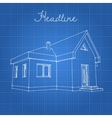 Drawing of the home on a blue background vector image vector image