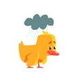 Duckling Under The Weather Cute Character Sticker vector image vector image