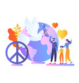 family celebrate world peace day waving hands vector image