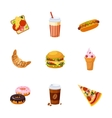 Fast Food Items Set vector image vector image