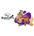 father with kids carving hallows pumpkin poster vector image vector image