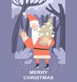 funny cartoon santa claus with a christmas tree vector image