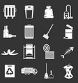 garbage thing icons set grey vector image vector image