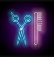 glow hairdressing scrissors and hairbrush vector image