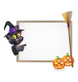 halloween black cat sign vector image vector image