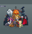 happy halloween pumpkin scarecrow witch mummy vector image