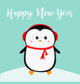 happy new year penguin on snowdrift red vector image vector image