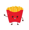 happy smiling funny cute french fries vector image